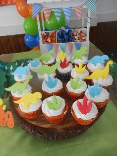 Cupcakes at a dinosaur birthday party! See more party ideas at CatchMyParty.com!