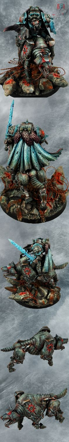 Skyrar's Dark Wolves Chaos Lord on Chaos Wolf