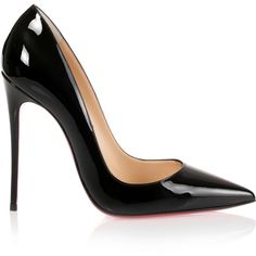 Christian Louboutin So Kate 120 black patent pump (5.775 NOK) ❤ liked on Polyvore featuring shoes, pumps, heels, chaussures, black stiletto pumps, black patent leather pumps, high heel pumps, high heels stilettos and pointy-toe pumps