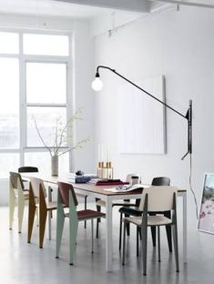 Swing lamp (wall or floor) over dining table so table can be moved more