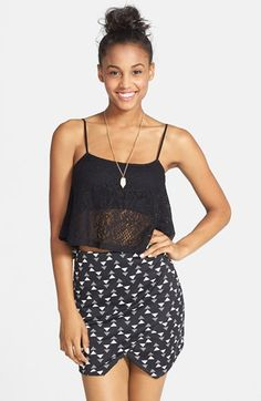 Painted Threads Pointed Hem Faux Wrap Miniskirt (Juniors) available at #Nordstrom