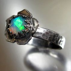 Natural Solid Rose Cut Opal Lotus Ring by PassionateJewelry, $120.00