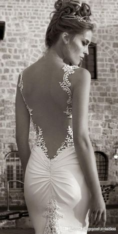Sexy Vintage Backless Mermaid Wedding Dresses Lace Appliques Strapls Sweetheart…