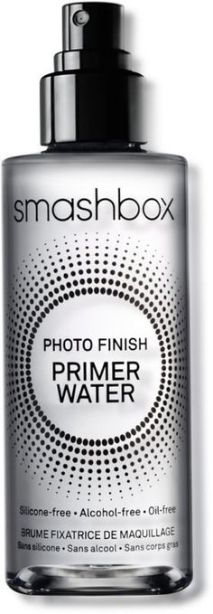 Photo Finish Primer Water Smashbox Photo Finish Primer Water ($32) is a primer water that's silicone, alcohol, and oil free. Cannot wait to try!