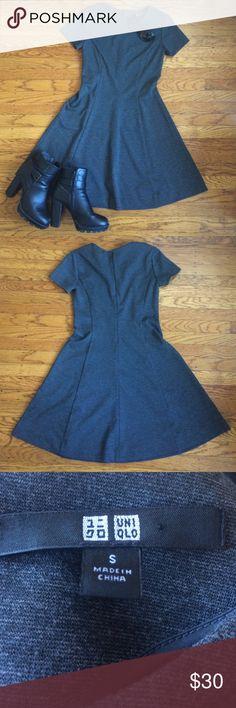 "Comfy gray Uniqlo dress Dark gray short-sleeved dress by Uniqlo. MEASUREMENTS: bust 32"", waist 28"", hips 43"". Uniqlo Dresses Midi"