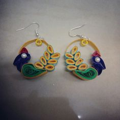 peacock quilling earrings