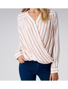 Silvana Wrap Front Blouse Peach Stripe - Womens Fashion | Forever New
