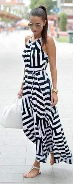 Summer chic dress #fashion #blackandwhite | Monochrome striped maxi dress with flat sandals