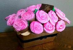 Basket of cupcakes bouquet