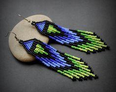Boho seed bead earrings Extra long beaded earrings Fringe