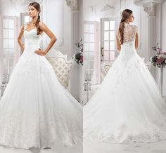 Formal Sexy Lace Ball Gowns Wedding Dresses Long Train Beads See Through Back Bridal Gowns Beading 2015 Plus Size Vintage Wedding Gown #dhgatePin