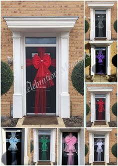 Luxury Door Bow Christmas Xmas Baby Shower Wedding Shop Front Half or full Wrap Door Bows Christmas, Christmas Front Doors, Christmas Door Decorations, Christmas Makes, Make A Door, Honeycomb Decorations, Door Picture, Diy Bow, Xmas Crafts