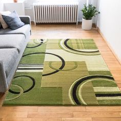 Well Woven Ruby Galaxy Waves Modern Geometric Green Area Rug