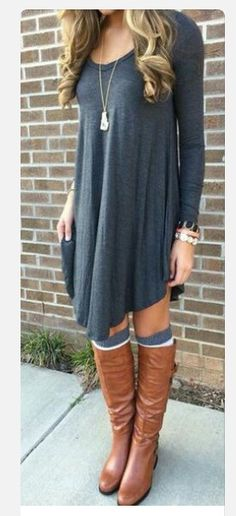 Love!!! Long shirt dress with over the knee socks and boots!♡