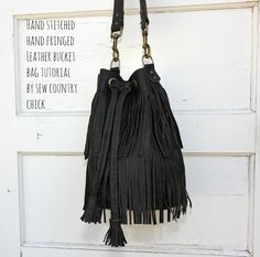 Leather Fringed Bucket Bag tutorial- sew country chick