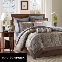 @Overstock - If classic is your style, this Madison Park Whitman comforter set is perfect for you. The sheets 100-percent cotton with 200 thread count, and the soft blue coordinates back perfectly to the bedding collection.http://www.overstock.com/Bedding-Bath/Madison-Park-Whitman-Blue-12-piece-California-King-size-Bed-in-a-Bag/5955654/product.html?CID=214117 $159.99
