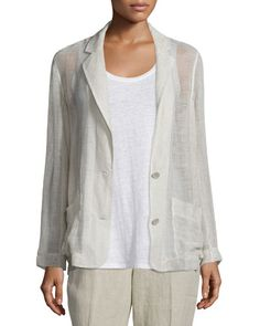 TC4A6 Eileen Fisher Mesh Two-Button Blazer, Natural