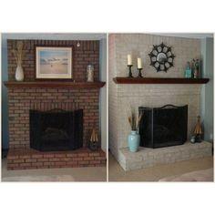 Fireplace Paint Kit | Lighten Brighten Old Brick Fireplaces Painted Brick Fireplaces, Paint Fireplace, Brick Fireplace Makeover, Fireplace Brick, Stone Fireplaces, Brick Fireplace Decor, White Wash Fireplace, Fireplace Ideas, Wood Paneling Makeover