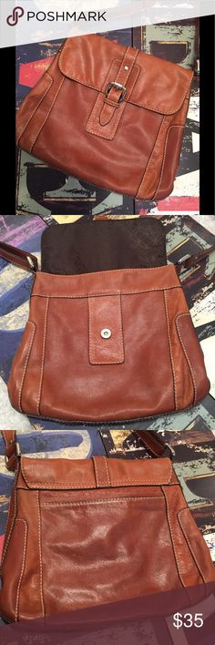 "✨ Fossil Crossbody Bag ✨ Soft, supple genuine leather Fossil Crossbody Bag, Cognac color, shows very light wear on bottom of bag, a small spot on lower front right (see pics), all barely visible.. 12 1/2""W, 11""H, 2""D..(dark shadowing from lighting, not flaws).. Fossil Bags Crossbody Bags"