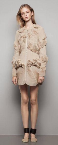 Sculpted Pleat Patterns - pleated dress with 3D textures - artful fabric manipulation; sculptural fashion design // Mononoke