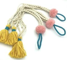 "jazz up your space handmade plant hanger handmade tassel + large pom pom accents hangs about 32"" long (2F 8"") made by erica kane fink ypsilanti mi Aesthetic Colors, Pom Poms, Plant Hanger, Macrame, Jazz, Tassels, Space, Handmade, Ideas"