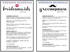 BRIDAL PARTY - Pocket schedule for the bridal party. | Bridesmaids ...