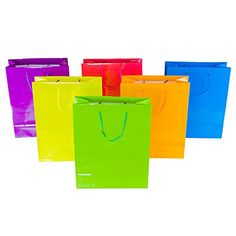 Super Z Outlet Neon Colored Blank Paper Party Gift Bags Rainbow Assortment with String Handles for Birthday Favors, Snacks, Decoration, Arts & Crafts, Event Supplies Bags) (Large) Party Gift Bags, Wedding Gift Bags, Rainbow Birthday Party, Birthday Favors, Gift Wrapping Supplies, Christmas Gift Bags, School Gifts, Party Packs, Paper Gifts
