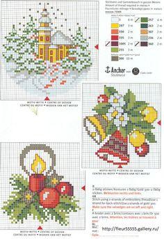 "diy_crafts-apró minták ""little holiday treasures"", ""Christmas patterns - I love them!"", ""ru / mornela - Album \""From the magazines\"""", "" Xmas Cross Stitch, Cross Stitch Christmas Ornaments, Cross Stitch Needles, Cross Stitch Cards, Christmas Embroidery, Christmas Cross, Counted Cross Stitch Patterns, Cross Stitch Designs, Cross Stitching"