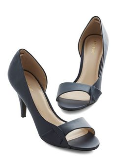 Instant Elegance Heel in Navy. Slip your toes into the dOrsay silhouette of these navy-blue heels for an immediate feeling of sophistication! #black #modcloth