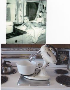 The top picture is my mother and the mixer in 1952. The bottom picture is the -still working- mixer today on the 1954 Kenmore stove. - Saundra A