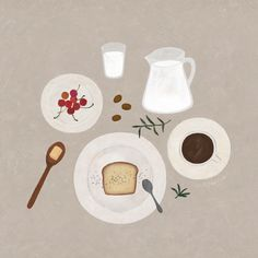 """Tea, a drink with bread and jam"" Coffee Illustration, Art And Illustration, Illustrations And Posters, Watercolor Illustration, Watercolor Art, Illustration Inspiration, Guache, Book Projects, Cute Drawings"
