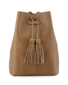 Python Small Double-Tassel Bucket Bag, Olive Green by TOM FORD at Neiman Marcus.