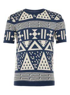 Denim blue large triangle pattern short sleeve jumper
