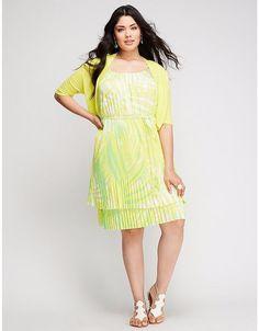 aa27c583c339 NEW Lane Bryant 22/24 Dress & Shrug Margarita Palms Micro Pleat Green  Yellow 2PC