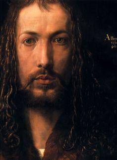 "Albrecht Durer (1471-1528) Self Portrait [detail] Oil on lime panel 1500 48.7 x 67.1 cm (19.17"" x 26.42"") Alte Pinakothek (Munich, Bavaria, Germany)"