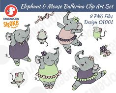 #33554 Clip Art Graphic of a Ballerina Elephant In A Pink ...