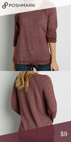 burnwash pullover sweatshirt with drawstring hem soft burnwash fabric adjustable drawstring bottom hem long sleeves scoop neck Maurices Tops Sweatshirts & Hoodies