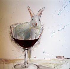 Canvas print by Mariaan Kotze, red wine, rabbit, glass, fun, kitchen, white: 13M66