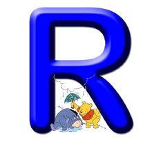 Abecedario Winnie the Pooh R Cute Alphabet, Monogram Alphabet, Alphabet And Numbers, Decoupage, Quilling Letters, Winnie The Pooh Birthday, Disney Printables, Creative Lettering, Pooh Bear