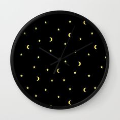 Gold Moons and Stars Wall Clock #night #black #gold #luxurious #moon #strary #stars #faerieshop #magic #mysterious #hipster #witchy #cool #halloween #occult #space #abstract #simple #magical #gothic #minimalism #vector #seamless #repeat #sale #accessories #society6 #s6 #home #decor #decoration