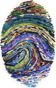 """""""Californian artist Cheryl Sorg finds texts from her subject's favourite books, book quotes, song lyrics, films etc and weaves them into an image of their actual fingerprint Collage Kunst, Art Du Collage, Kids Collage, Classe D'art, High School Art, Middle School Art Projects, Art Classroom, Art Club, Art Plastique"""
