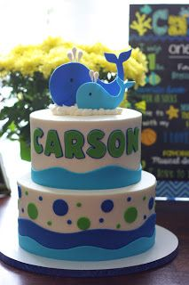 Simple Suburbia: Carson's First Birthday Party! Whale Birthday Parties, Boy First Birthday, Birthday Ideas, Birthday Cakes, Baby Shower Cakes, Baby Boy Shower, Baby Cakes, Whale Cakes, Cakes For Boys