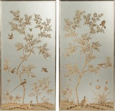 chinoiserie-hand-painted-wallpaper-panels-framed-gold-silver-metallic - The Glam Pad Silver Leaf Wallpaper, Tea Wallpaper, Hand Painted Wallpaper, Chinoiserie Wallpaper, Wallpaper Panels, Painting Wallpaper, Wallpaper Samples, Silk Painting, Oriental Wallpaper