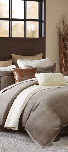 You'll love the look of this Hampton Hill Roaring River comforter set with faux-leather, southwestern embroidery and cable-knit pillows. Western Bedding, Rustic Bedding, Rustic Quilts, Luxury Cabin, Lodge Style, Log Homes, Comforter Sets, Modern Rustic, The Hamptons