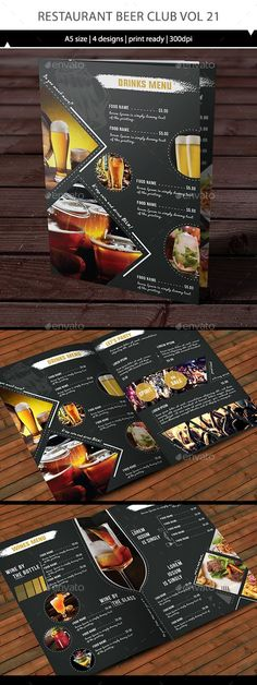Buy Restaurant Beerclub Menu Vol 21 by on GraphicRiver. Your Beer club menu design. You can use it for an individual menu or merge it for one identity bundle. Menu Restaurant, Menu Bar, Restaurant Design, Restaurant Identity, Menu Card Design, Food Menu Design, Flyer Design, Stationery Design, Design Design