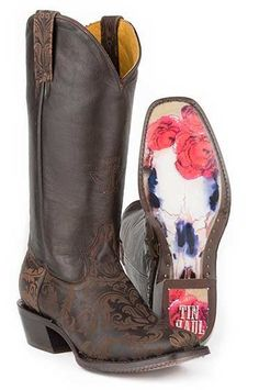 Tin Haul Women's Fillygree Red Rose Steer Western Cowgirl Boots - HeadWest Outfitters