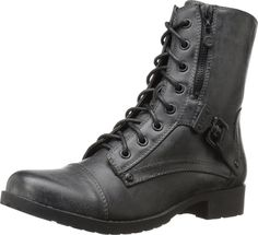G by GUESS Women's Burke Black PU Boot. Show off your fierce, edgy attitude in these boot-stomping boots. Faux-leather upper features a full lace-up front and partial side zipper. Smooth man-made lining and cushioned footbed. Flexible man-made outsole with a slight heel. Imported. Measurements: Heel Height: 1 in Weight: 15 oz Shaft: 7 1⁄4 in Platform Height: 1⁄4 in Product measurements were taken using size 8.5, width M. Please note that measurements may vary by size.