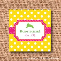Hoppy easter sugar cookie gift tin here comes peter cottentail items similar to polka dot personalized easter gift enclosure cards gift tags stickers set of on etsy negle Choice Image