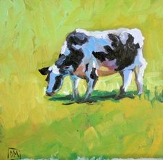 Cow -daily painting,cows, painting by artist Debbie Miller