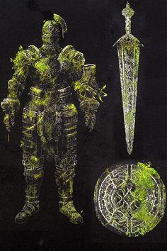 The Stone Knights of Darkroot garden.